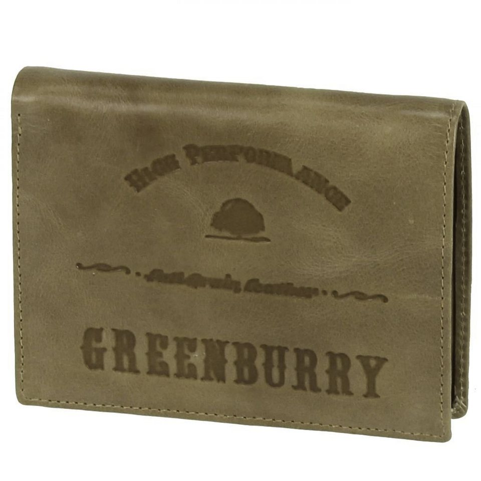 Greenburry Greenburry Full Grain Vintage Geldbörse Leder 9,5 cm in army green