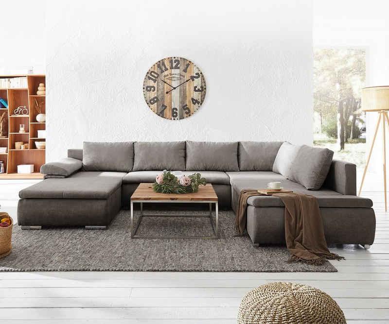DELIFE Schlafsofa »Abilene«, Khakibraun 325x230 cm Ottomane variabel Schlaffunktion Wohnlandschaft