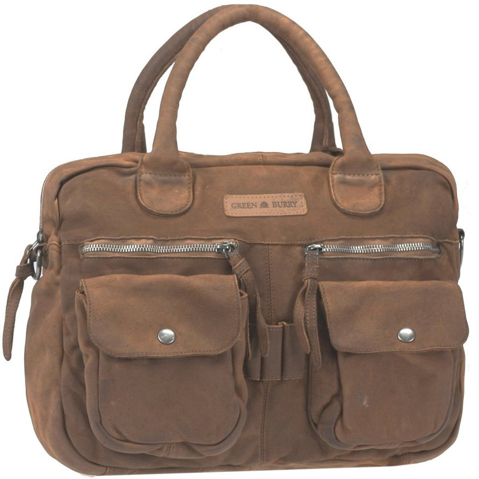Greenburry Greenburry Drum Washed Cow Henkeltasche II Leder 39 cm in khaki