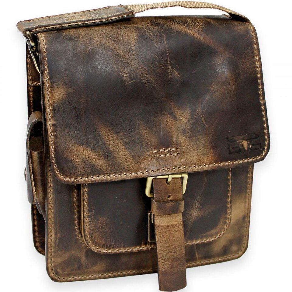 Mika Lederwaren Handtasche Umhängetasche Leder 26 cm in vintage