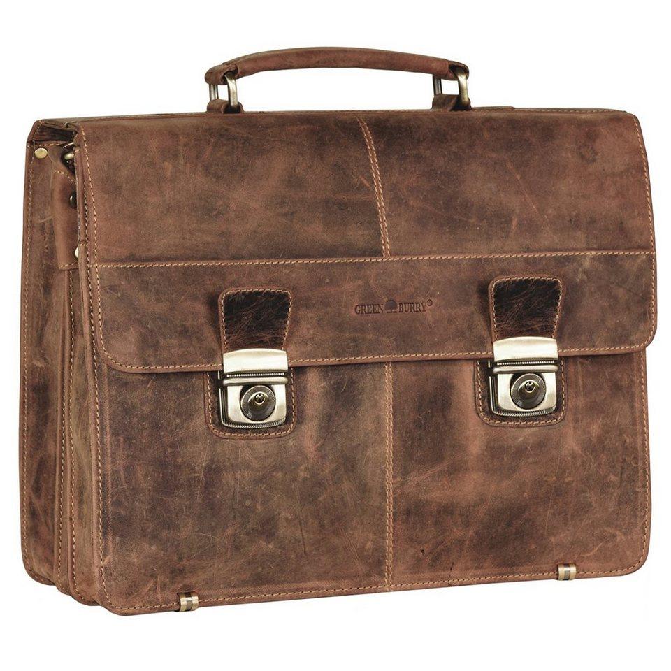 Greenburry Vintage XL Aktentasche Leder 40 cm mit 3 Hauptfächern in brown