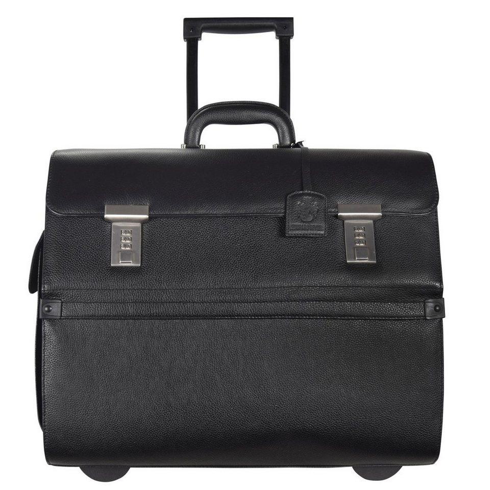 Leonhard Heyden Hamburg Businesstrolley Leder 45 cm Laptopfach in schwarz
