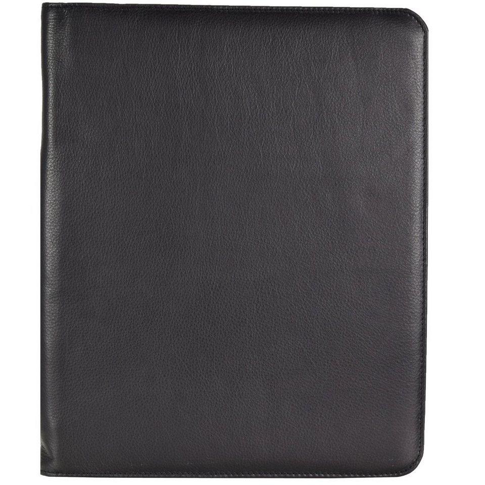 Dermata Schreibmappe Leder 35 cm in schwarz