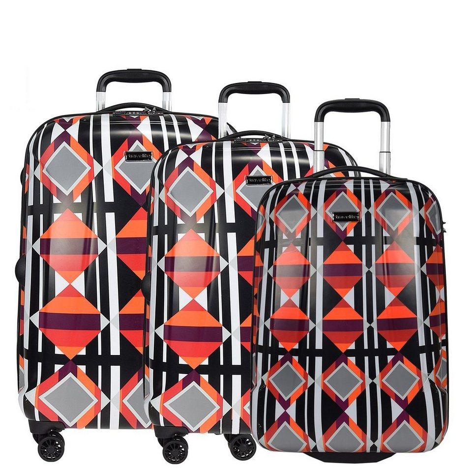travelite Graphix 2-/4-Rollen Kofferset 3tlg. in rot