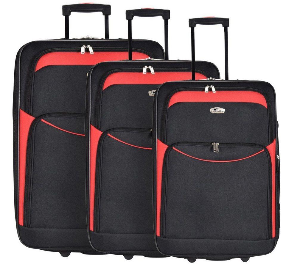 CHECK.IN Ibiza 2-Rollen Koffer Set 3tlg. in schwarz rot