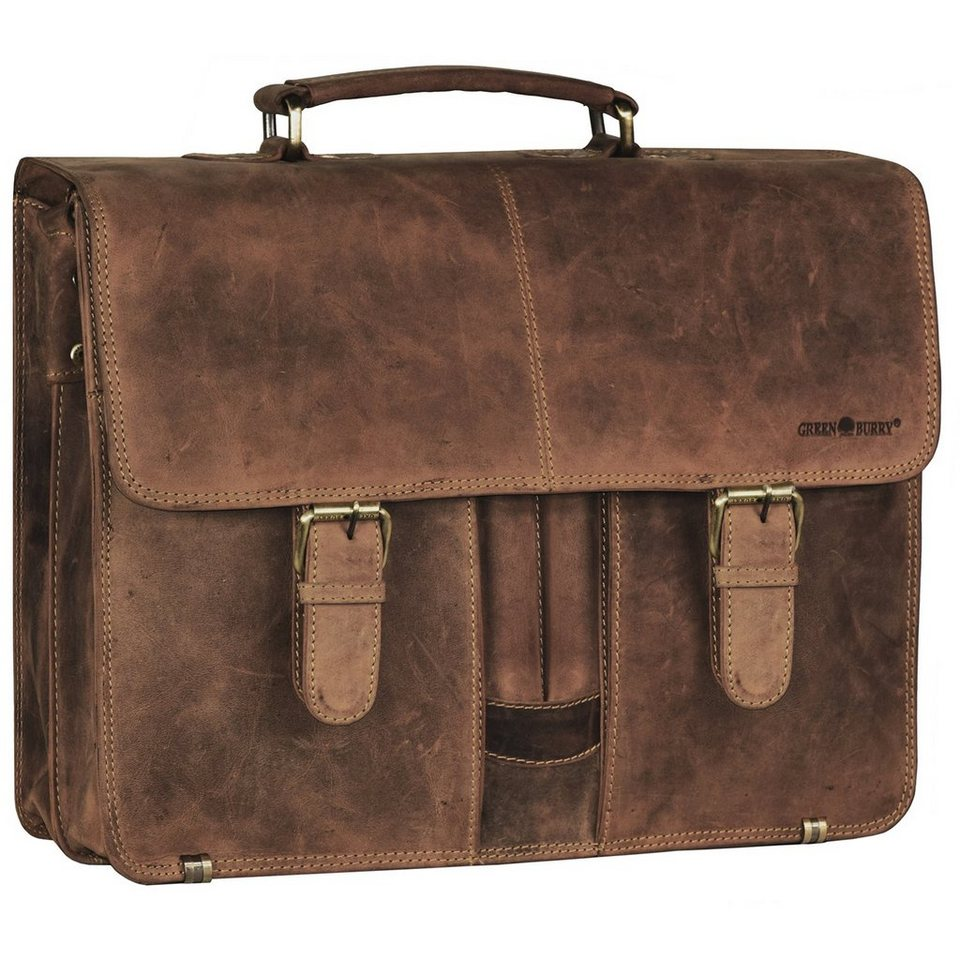 Greenburry Vintage XL Aktentasche Leder 40 cm Laptopfach mit 2 Hauptfächern in brown