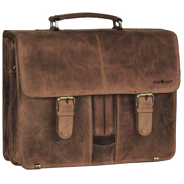Greenburry Vintage XL Aktentasche Leder 40 cm Laptopfach mit 2 Hauptfächern