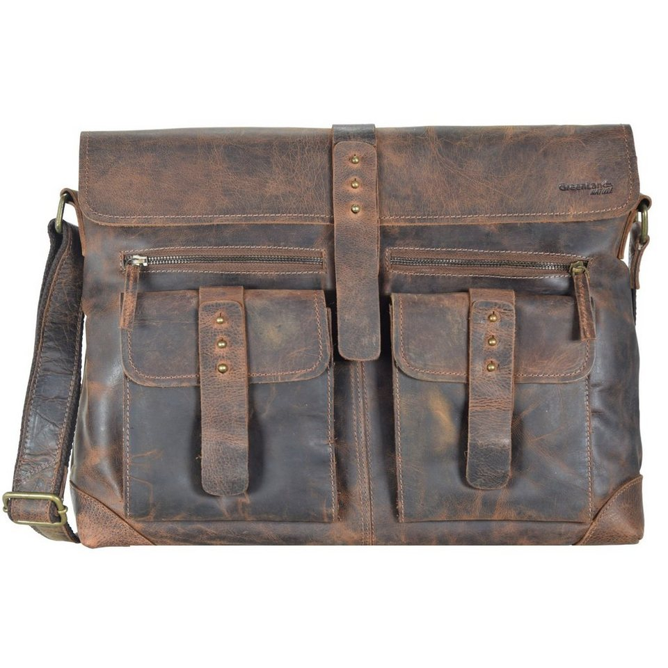 GREENLAND Classic Messenger Tasche Leder 41 cm in brown