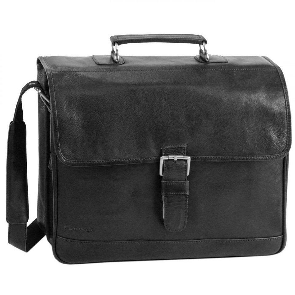 Plevier 700er Serie Aktentasche Leder 30 cm Laptopfach in schwarz