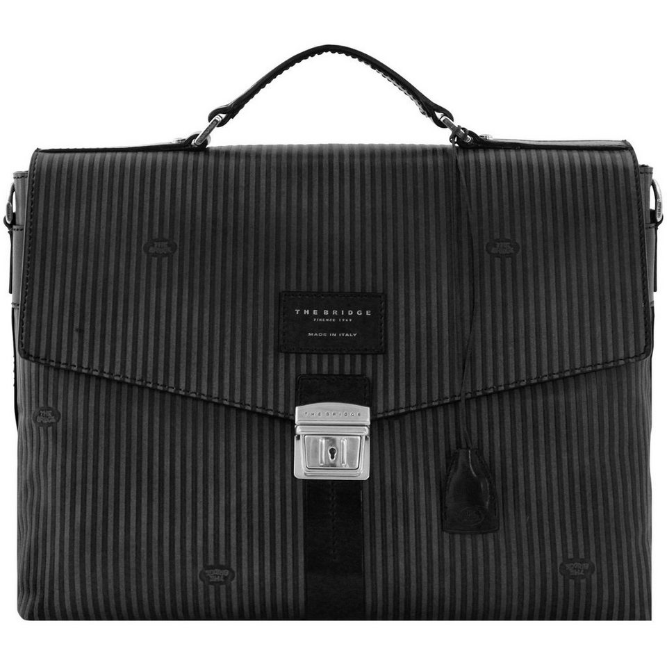 The Bridge The Bridge Heritage Lux Uomo Aktentasche Leder 39 cm Laptopfach in nero