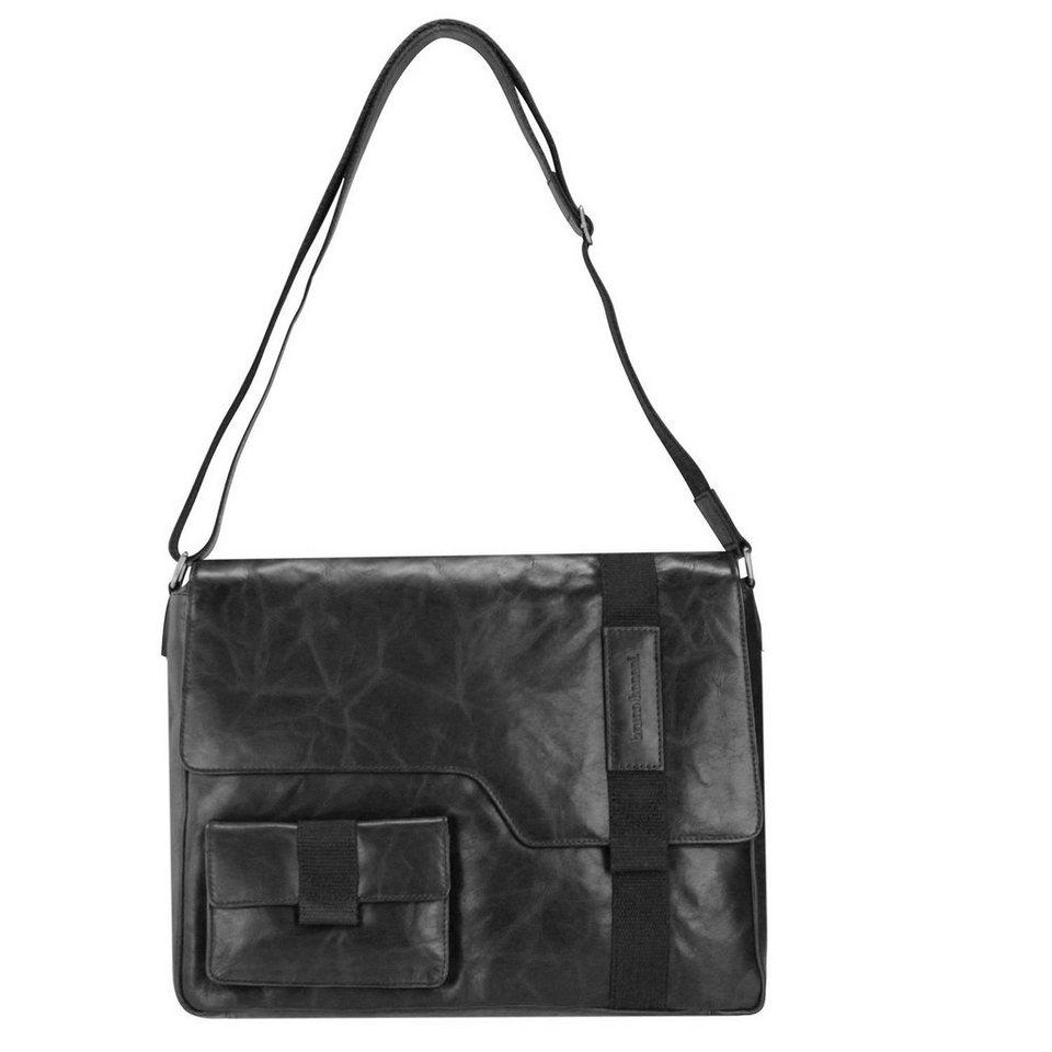 BRUNO BANANI Cube Messenger Leder 40 cm Laptopfach in black