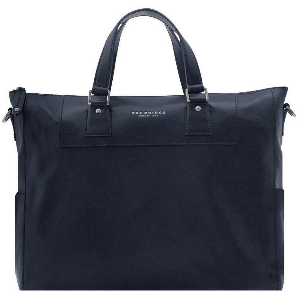 The Bridge Artisan Uomo Shopper Tasche Leder 40 cm Laptopfach in blu