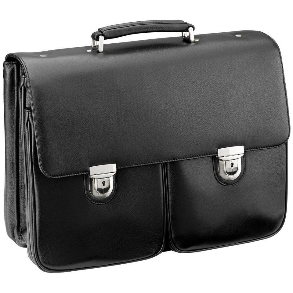 d & n Business Line Aktentasche Leder 43 cm Laptopfach in schwarz