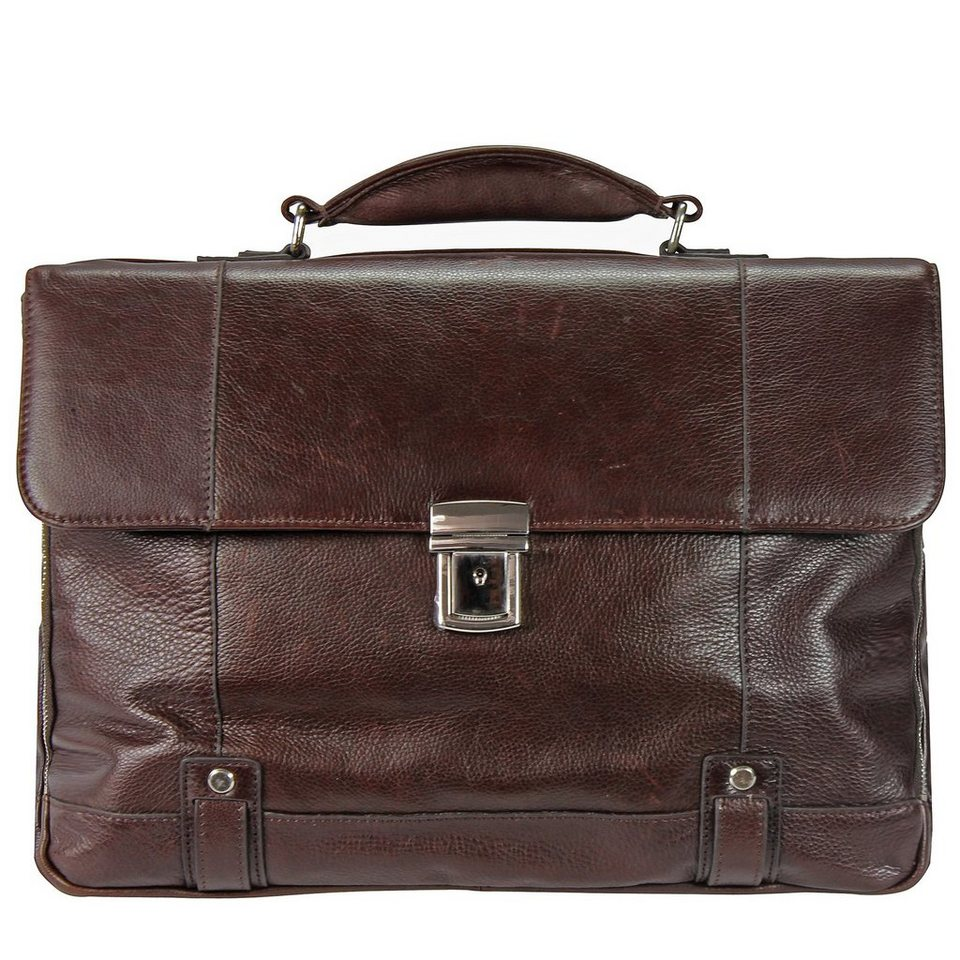 d & n Classic Brown Aktentasche Leder 40 cm Laptopfach in braun