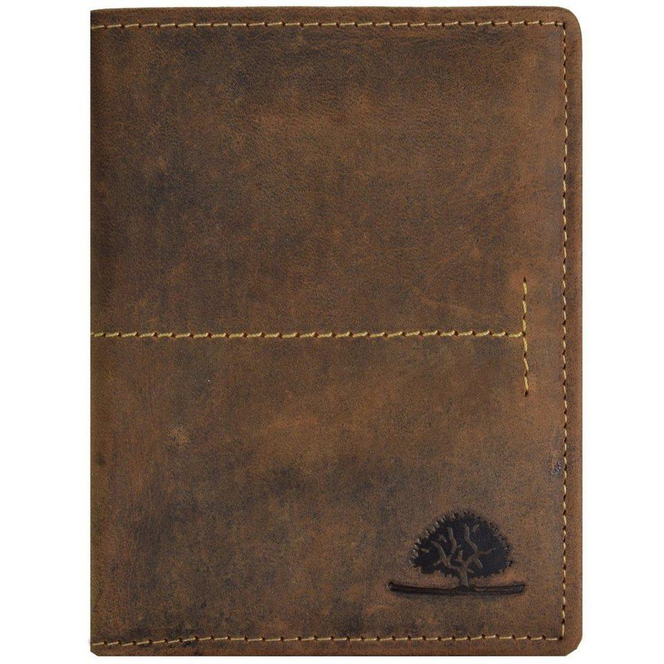 Greenburry Vintage Geldbörse Hochformat Leder 9,5 cm mit Klappfach in brown