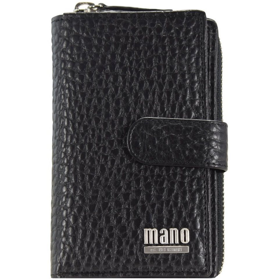 MANO Gaudio Geldbörse Leder 9,5 cm in schwarz