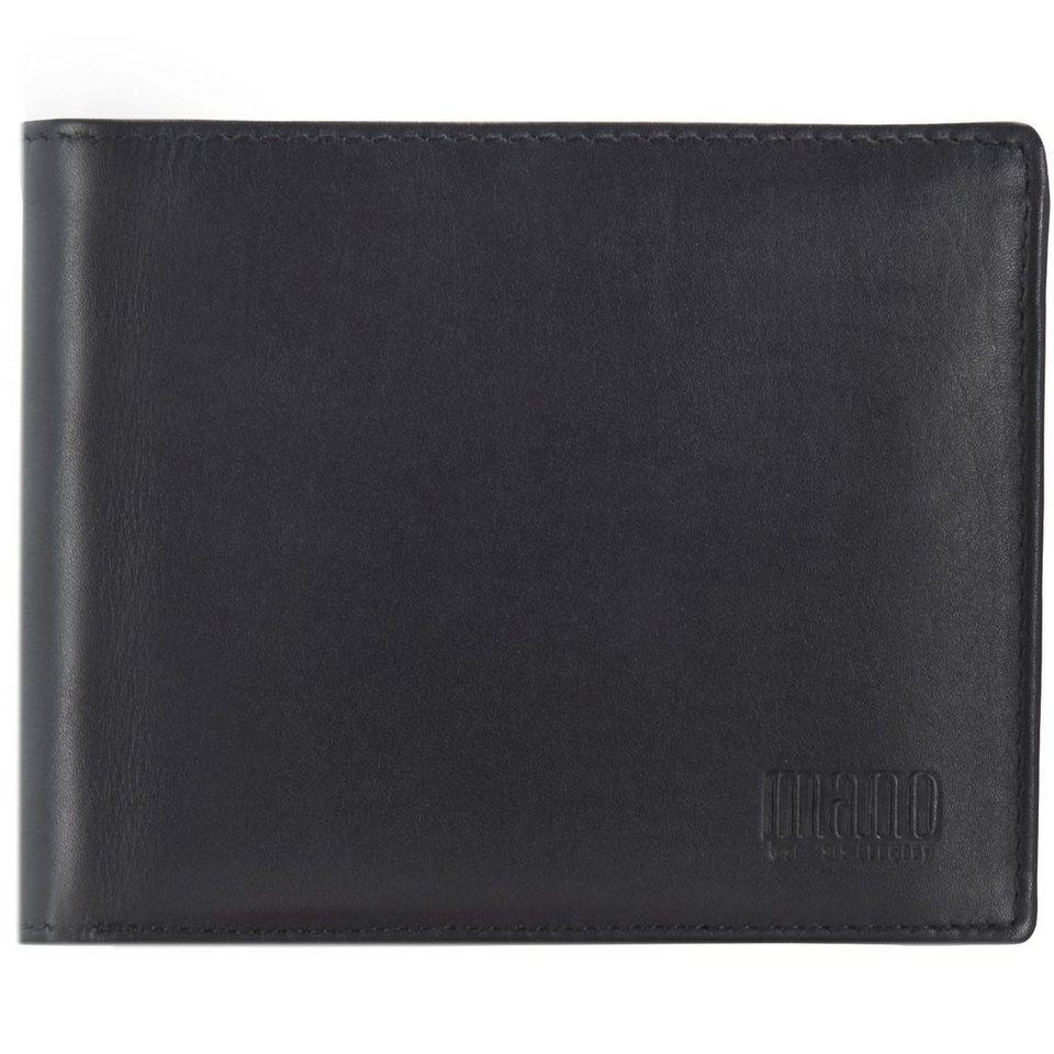 mano mano Planus Geldbörse Leder 12,2 cm in schwarz