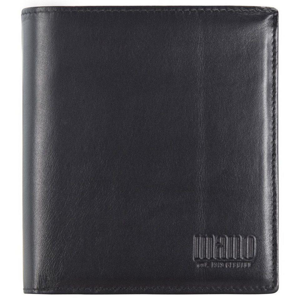 mano mano Planus Geldbörse Leder 10,5 cm in schwarz