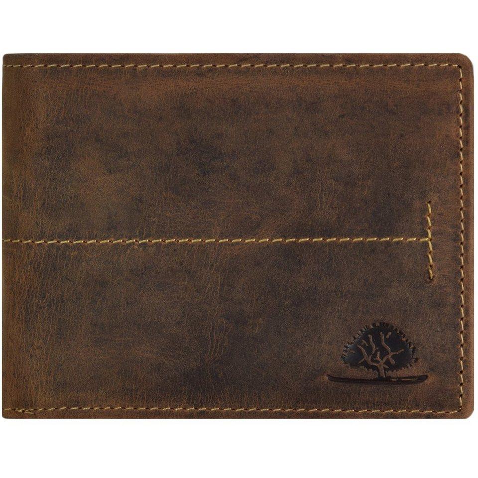 Greenburry Vintage Geldbörse Querformat Leder 12 cm mit Klappfach in brown