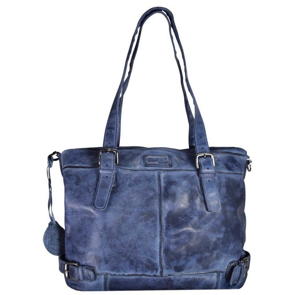 GREENLAND Femi & Nine Color Shopper Tasche Leder 40 cm in indigo blue