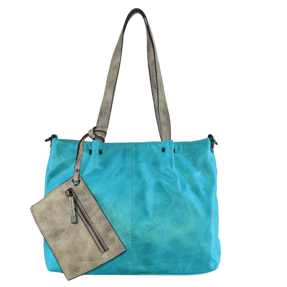Maestro Maestro Surprise 16 Handtasche Bag in Bag Shopper 35 cm in türkise hellgrau