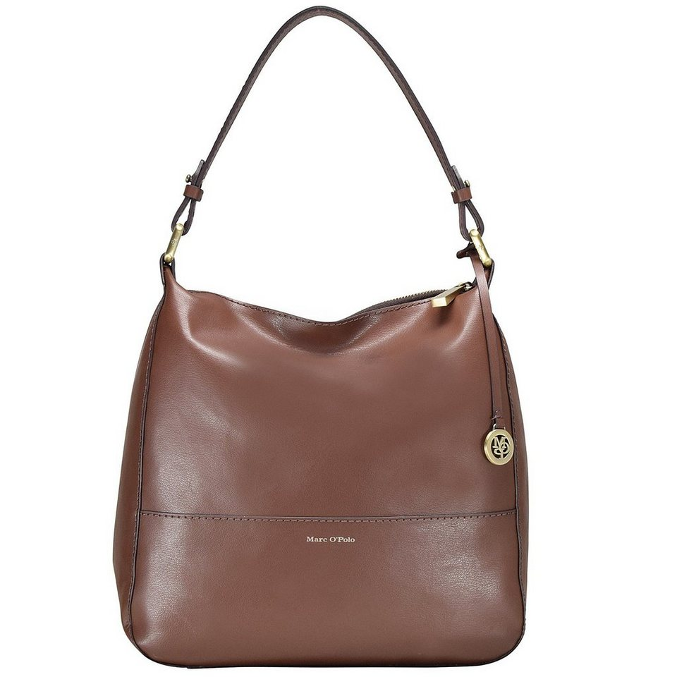 Marc O'Polo Smooth Cowhide Schultertasche Leder 28 cm in chestnut