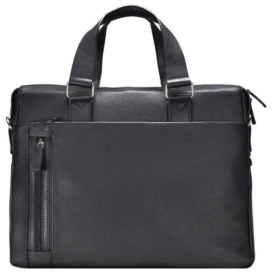 d & n d&n Basic Aktentasche Leder 40 cm Laptopfach in schwarz