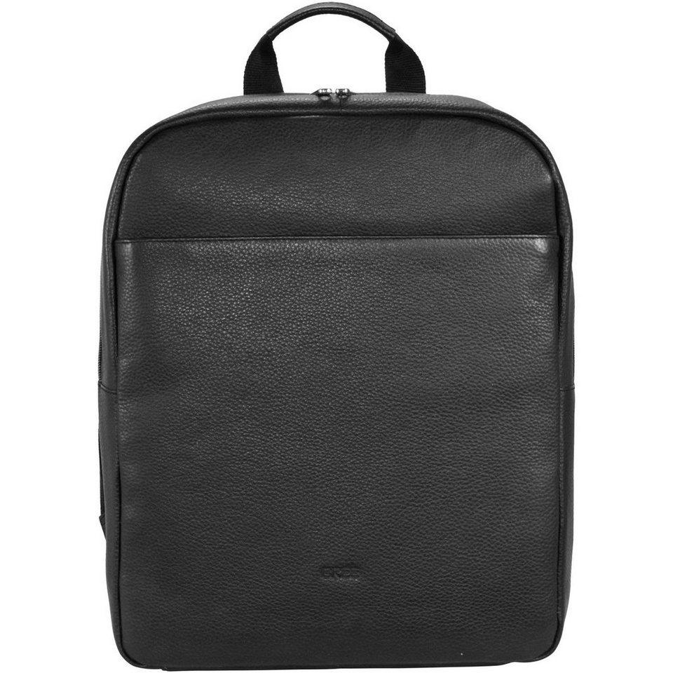 Bree Bree Rotterdam 5 Rucksack Leder 40 cm Laptopfach in black grained