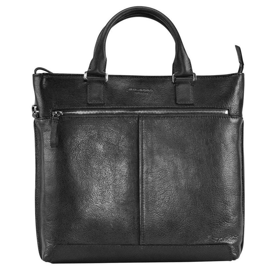 Piquadro Archimede Shopper Tasche Leder 41 cm in schwarz
