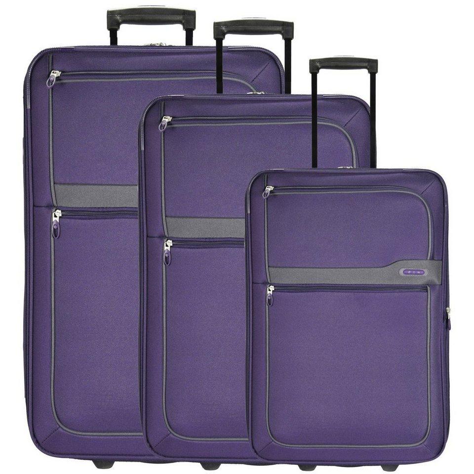 d & n Travel Line 9300 2-Rollen Trolley Set 3-tlg in purple