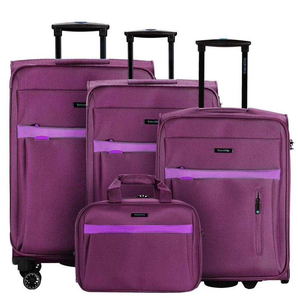 travelite Madeira 2.0 4-/2-Rollen Kofferset 4tlg. in deep purple light pu
