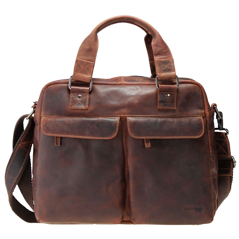 GREENLAND Montana Handtasche Leder 38 cm Laptopfach