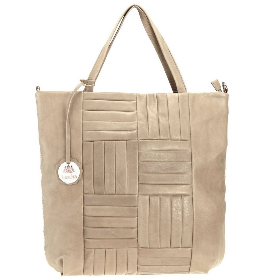 Boscha Don't be square Handtasche Shopper Theresa Leder 43 cm in taupe