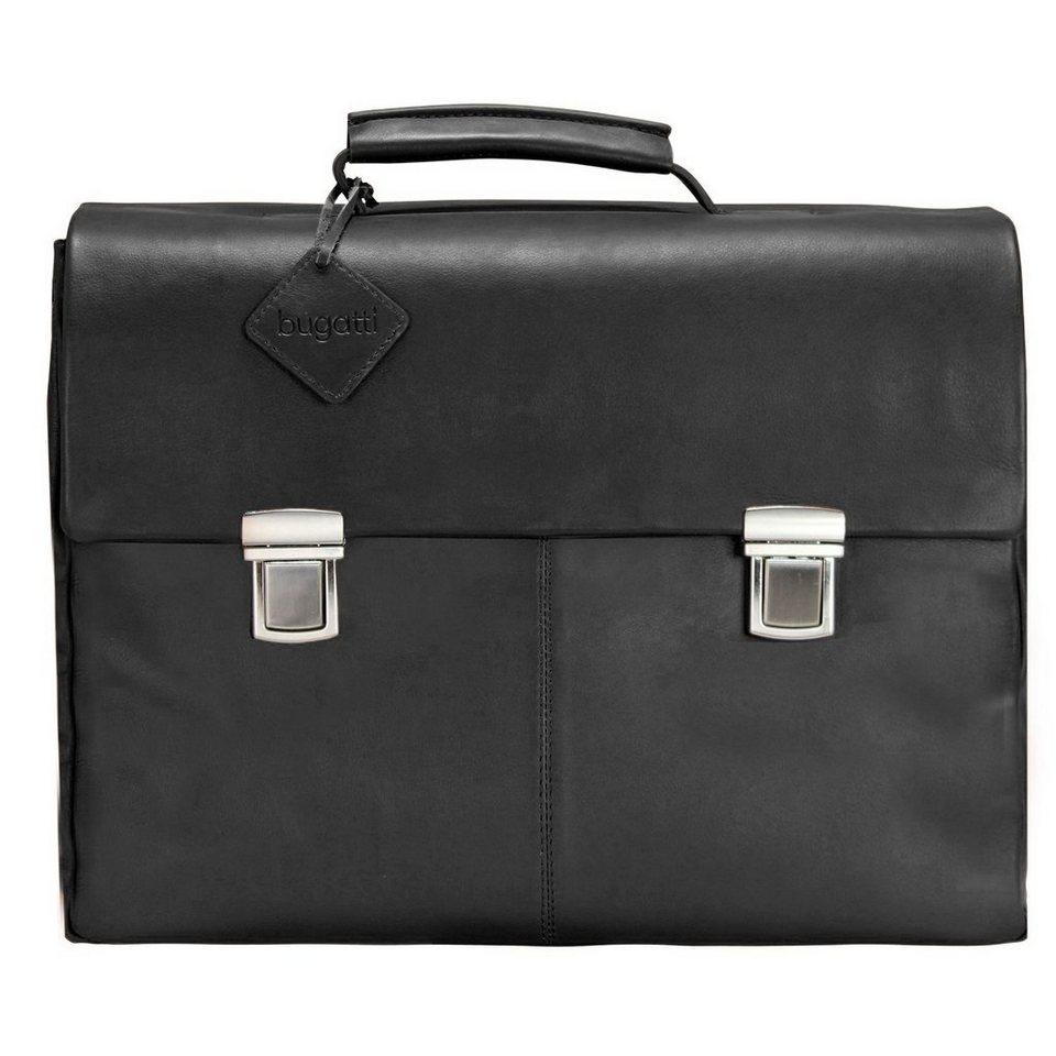 Bugatti Manhattan Aktentasche Leder 41 cm Laptopfach in schwarz