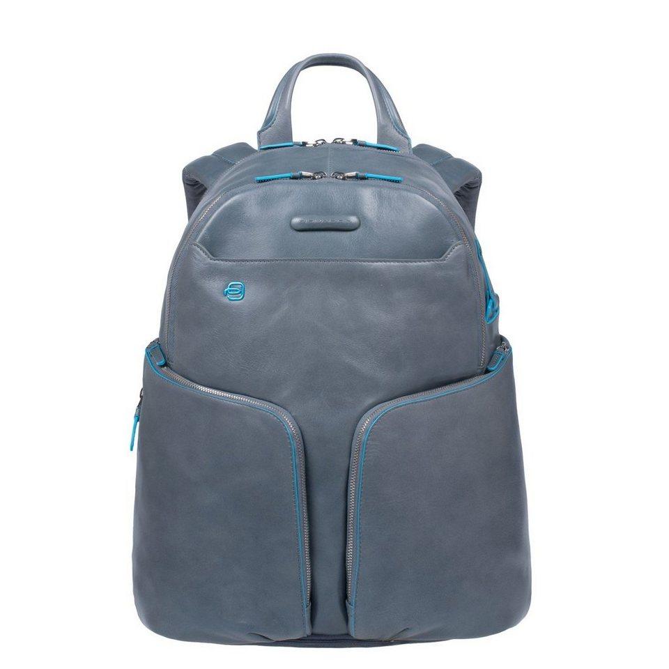 Piquadro Blue Square Rucksack Leder 39 cm Laptopfach in grey