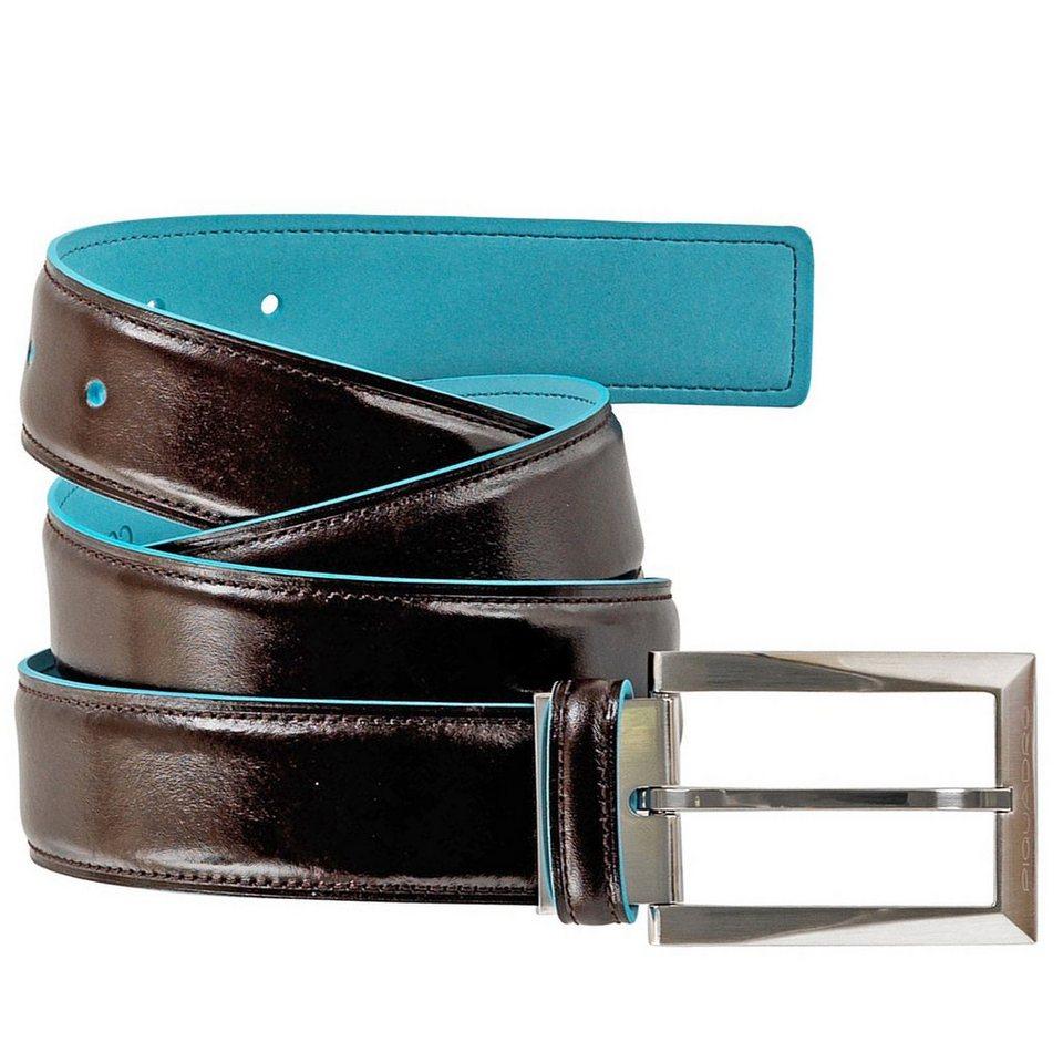 Piquadro Blue Square Gürtel Leder 125 cm in mahagonibraun
