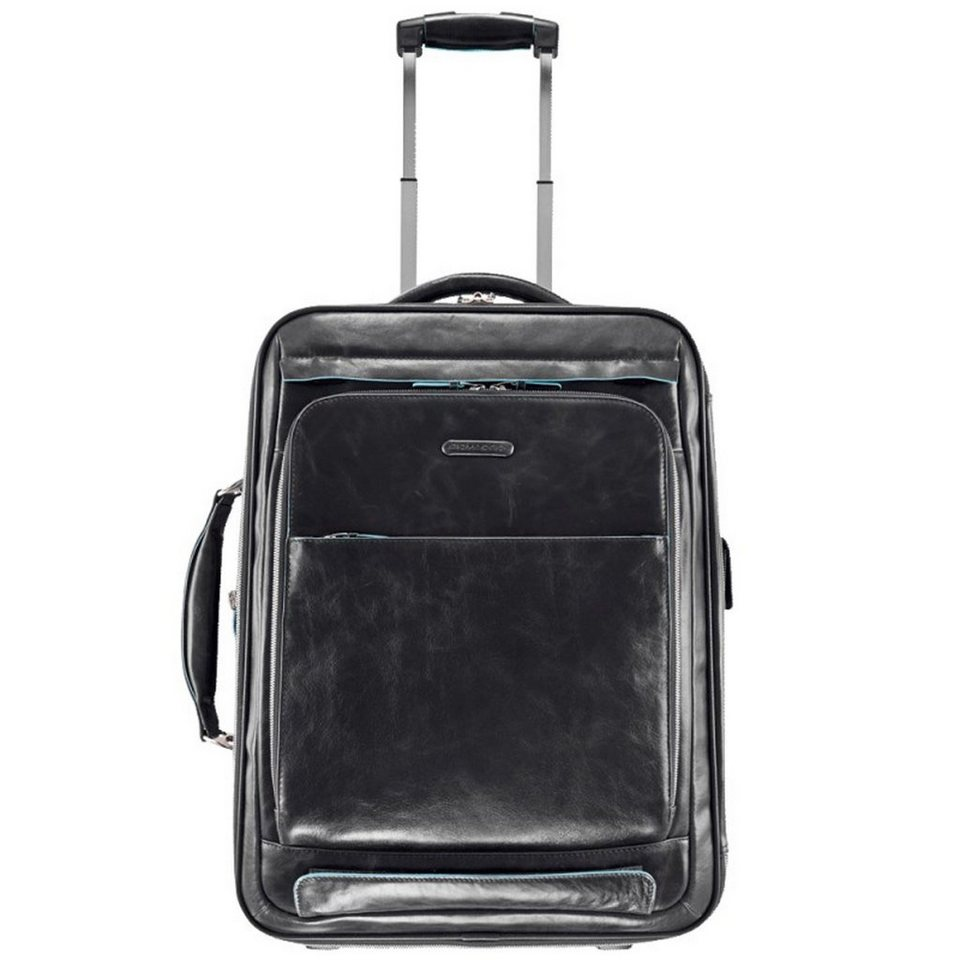 Piquadro Blue Square 2-Rollen Business Trolley Leder 53 cm Laptopfach in schwarz