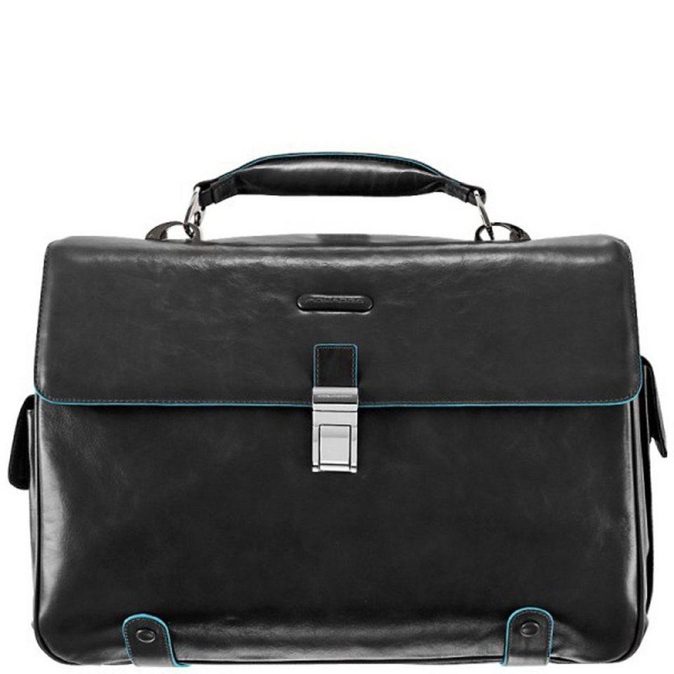 Piquadro Blue Square Aktentasche Leder 44 cm Laptopfach in schwarz