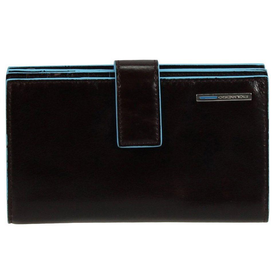 Piquadro Blue Square Geldbörse Leder 9,5 cm in mahagonibraun