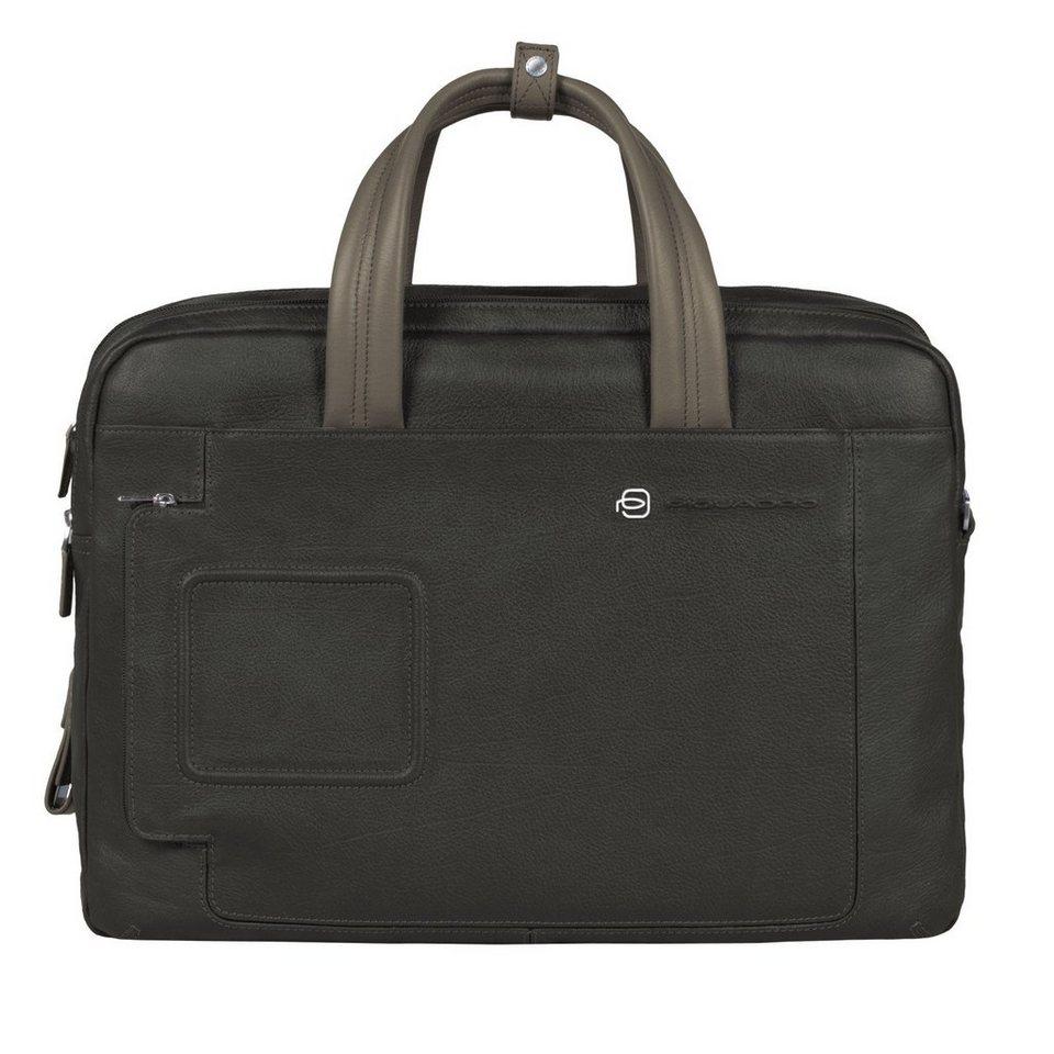 Piquadro Vibe Aktentasche Leder 41 cm Laptopfach in grey taupe