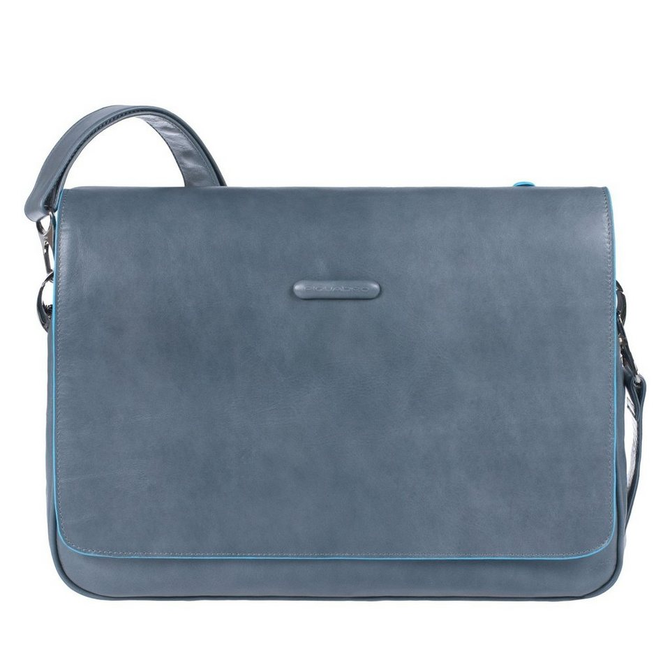 Piquadro Blue Square Messenger Leder 36 cm Laptopfach in grey
