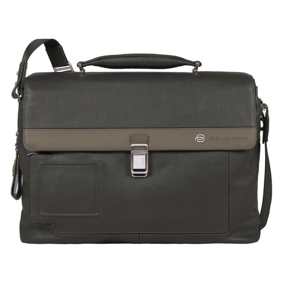 Piquadro Vibe Aktentasche Leder 42 cm Laptopfach in grey taupe