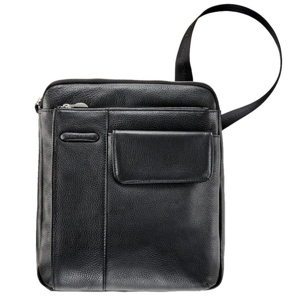 Piquadro Modus Umhängetasche Leder 25 cm in schwarz
