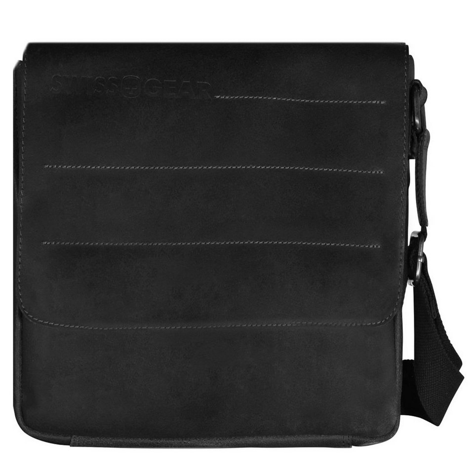 Wenger Swiss Gear Street Hunter Umhängetasche Leder 28 cm Laptopfach in schwarz