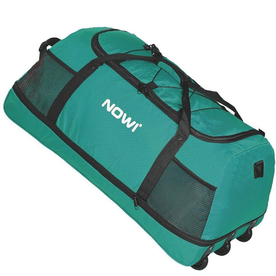 NOWI XXL Riesen Reisetasche mit 3 Rollen Volumen 100-135 Liter Rollen in petrol