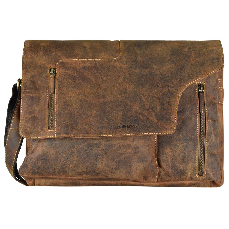 Greenburry Vintage Revolver Bag Umhängetasche Leder 40 cm