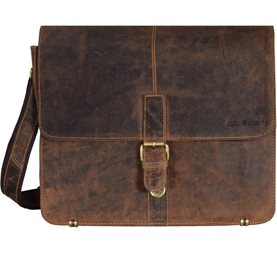 Greenburry Vintage Umhängetasche Leder 36 cm in brown