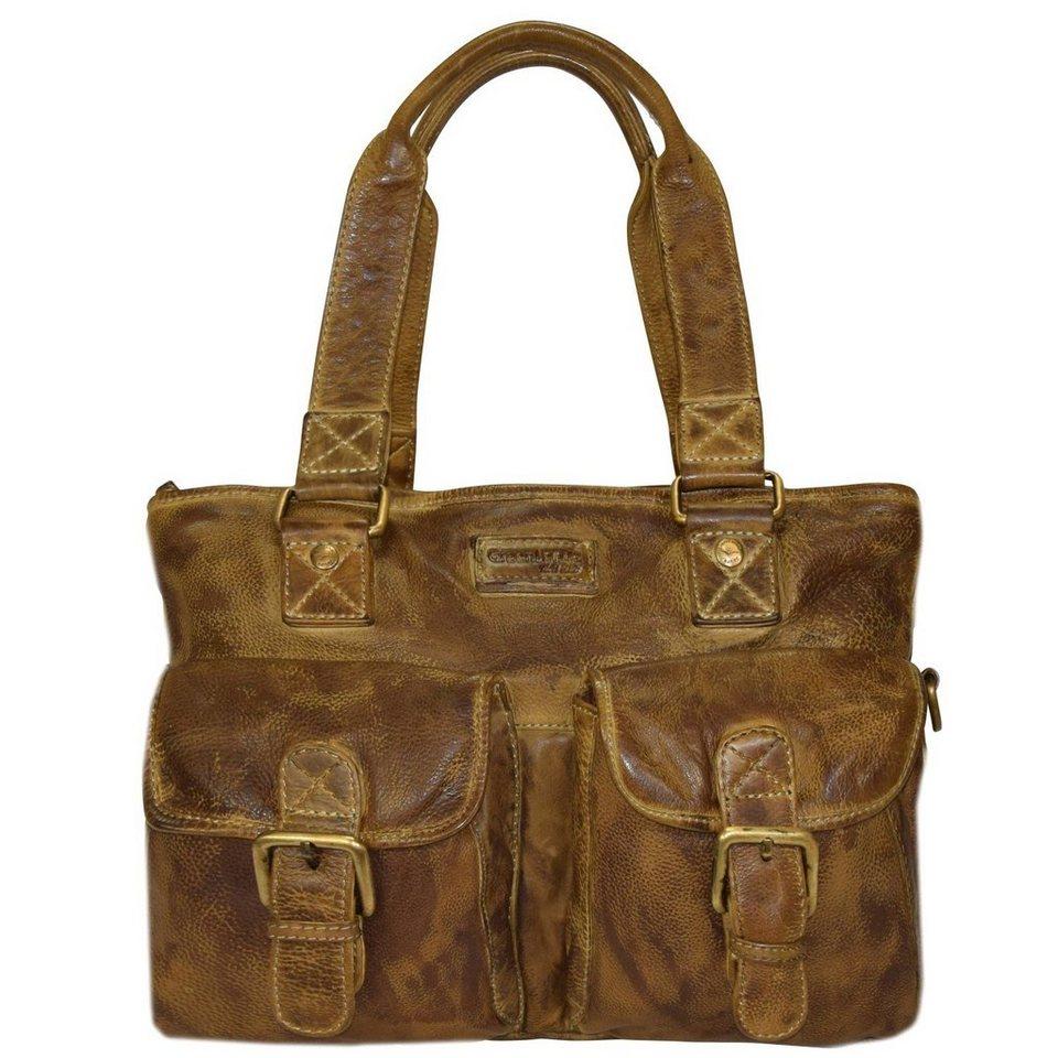 GREENLAND Soft Bags Handtasche Leder 37 cm in gelbbraun