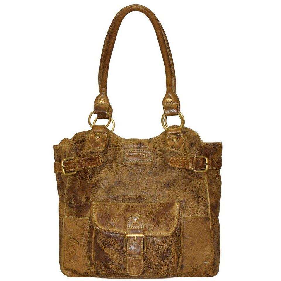 GREENLAND Soft Bags Handtasche Leder 31 cm in gelbbraun