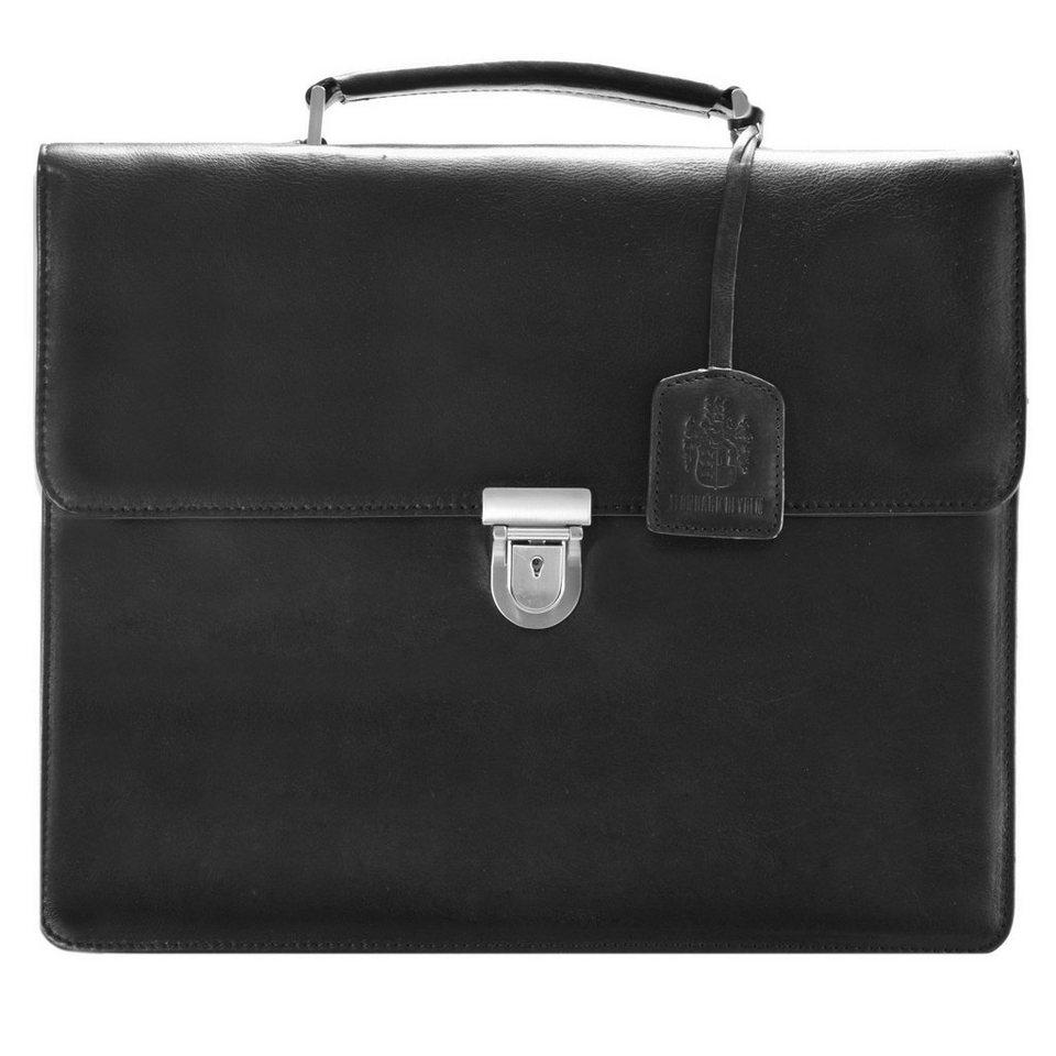 Leonhard Heyden Cambridge Aktentasche Leder 38 cm Laptopfach in schwarz